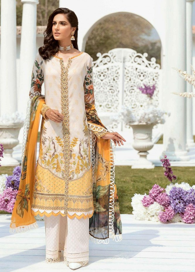Vogue by Emaan Adeel Embroidered Lawn Suits Unstitched 3 Piece EA21VF 01 GOLDEN HOUR - Festive Collection