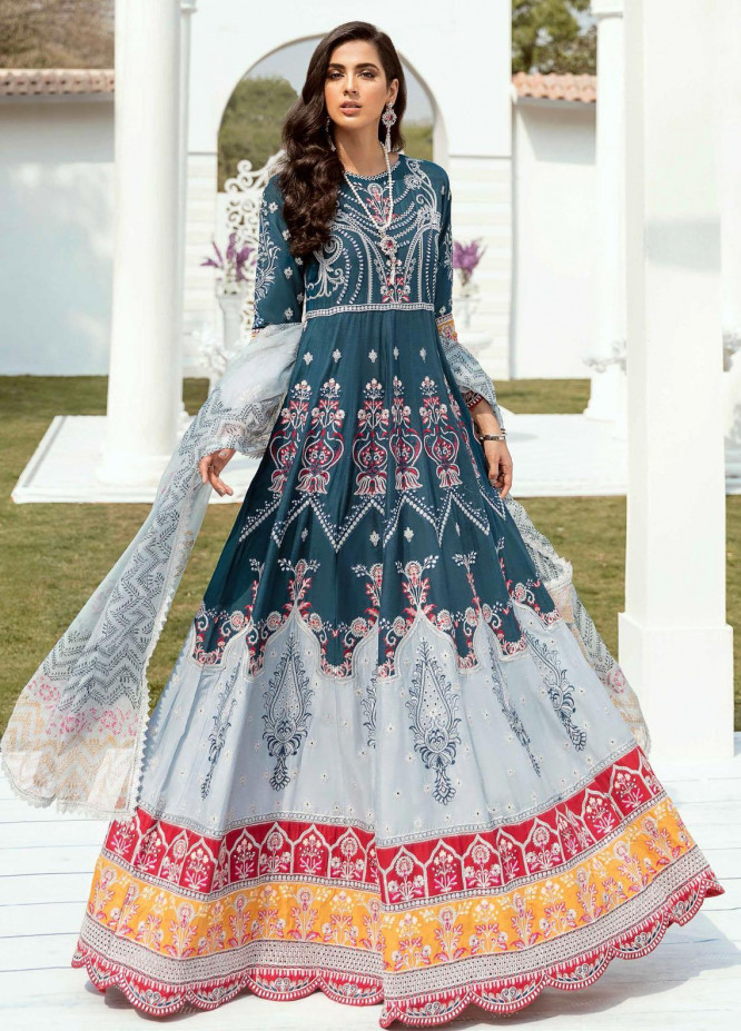 Vogue by Emaan Adeel Embroidered Lawn Suits Unstitched 3 Piece EA21VF 02 MIDNIGHT BLOSSOM - Festive Collection