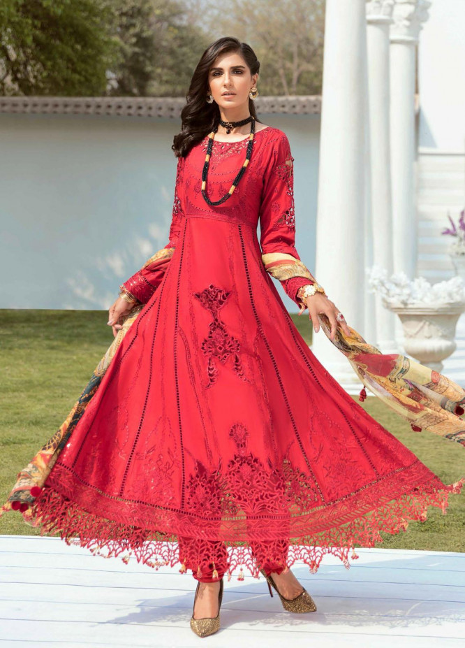 Vogue by Emaan Adeel Embroidered Lawn Suits Unstitched 3 Piece EA21VF 03 BOLD CORAL - Festive Collection