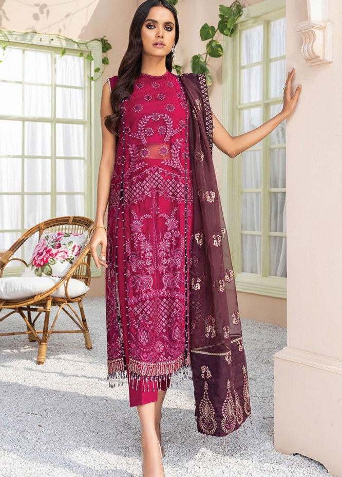 Dareechay by Xenia Formals Embroidered Chiffon Unstitched 3 Piece Suit XE21D 03 Rosana - Luxury Collection