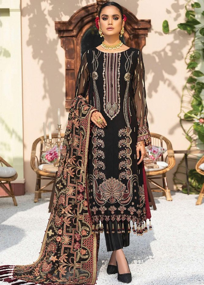Dareechay by Xenia Formals Embroidered Chiffon Unstitched 3 Piece Suit XE21D 07 Siavush - Luxury Collection