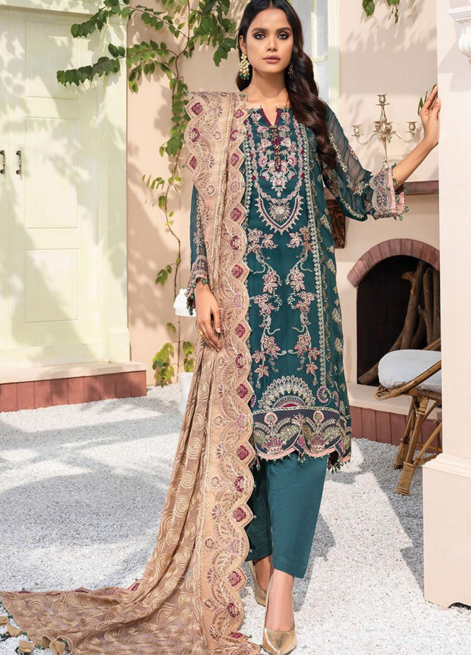Dareechay by Xenia Formals Embroidered Chiffon Unstitched 3 Piece Suit XE21D 09 Babushka - Luxury Collection
