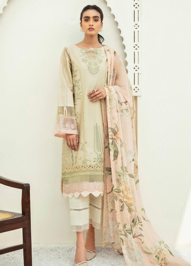 Xenia Formals Embroidered Lawn Suits Unstitched 3 Piece XE21M D-03 MYNA - Summer Collection