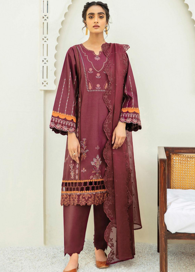 Xenia Formals Embroidered Lawn Suits Unstitched 3 Piece XE21M D-05 NAZ - Summer Collection