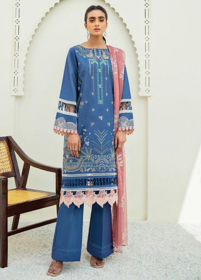 Xenia Formals Embroidered Lawn Suits Unstitched 3 Piece XE21M D-09 KYSER - Summer Collection