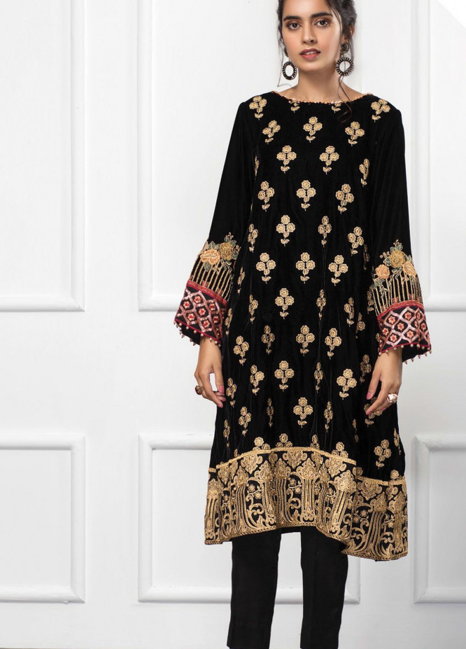 XENIA Formals Embroidered Velvet Stitched 2 Piece Suit XE20V 02 BLACK OCEAN