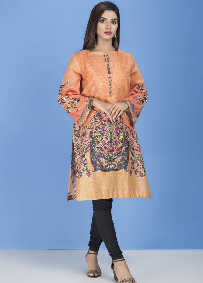 Yusra Ansari Embroidered Lawn Stitched Kurti YA20EF YA-09 Flouresecent Orange