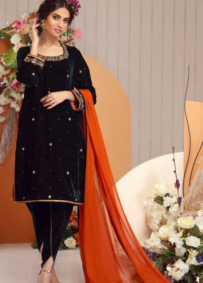 Zaaviay Embroidered Velvet Stitched 3 Piece Suit ZV20BM 05 RESHAM
