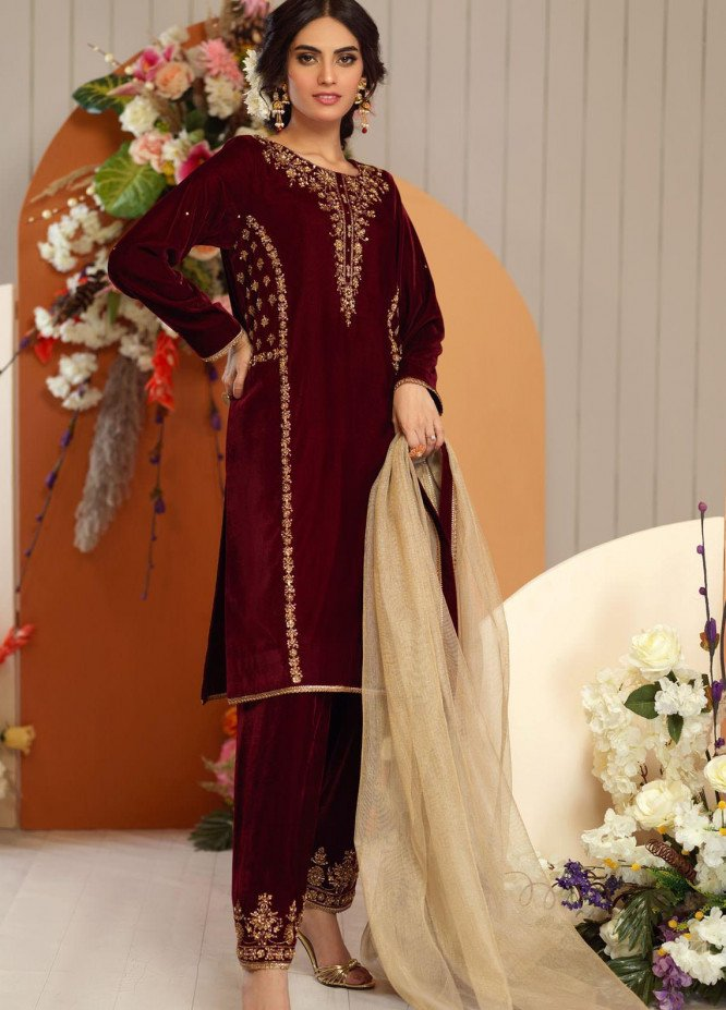 Zaaviay Embroidered Velvet Stitched 3 Piece Suit ZV20BM 07 SHADAB