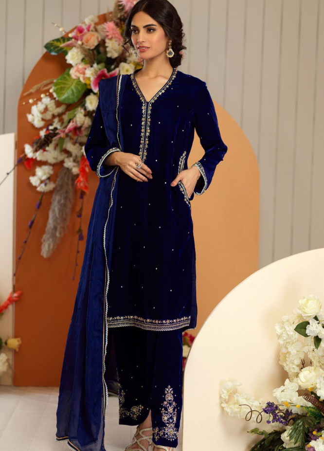 Zaaviay Embroidered Velvet Stitched 3 Piece Suit ZV20BM 12 ABSHAR