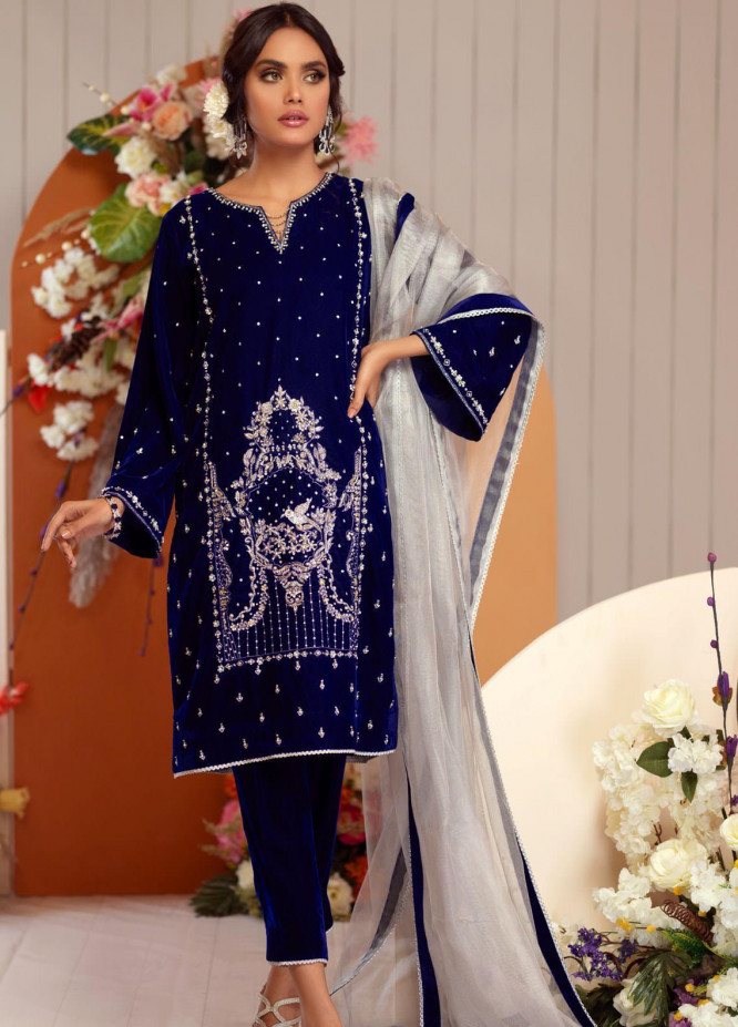 Zaaviay Embroidered Velvet Stitched 3 Piece Suit ZV20BM 16 JUGNU