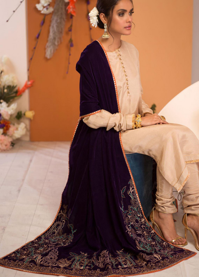 Zaaviay Embroidered Velvet  Shawl 02 VAADI-Purple - Velvet Shawls
