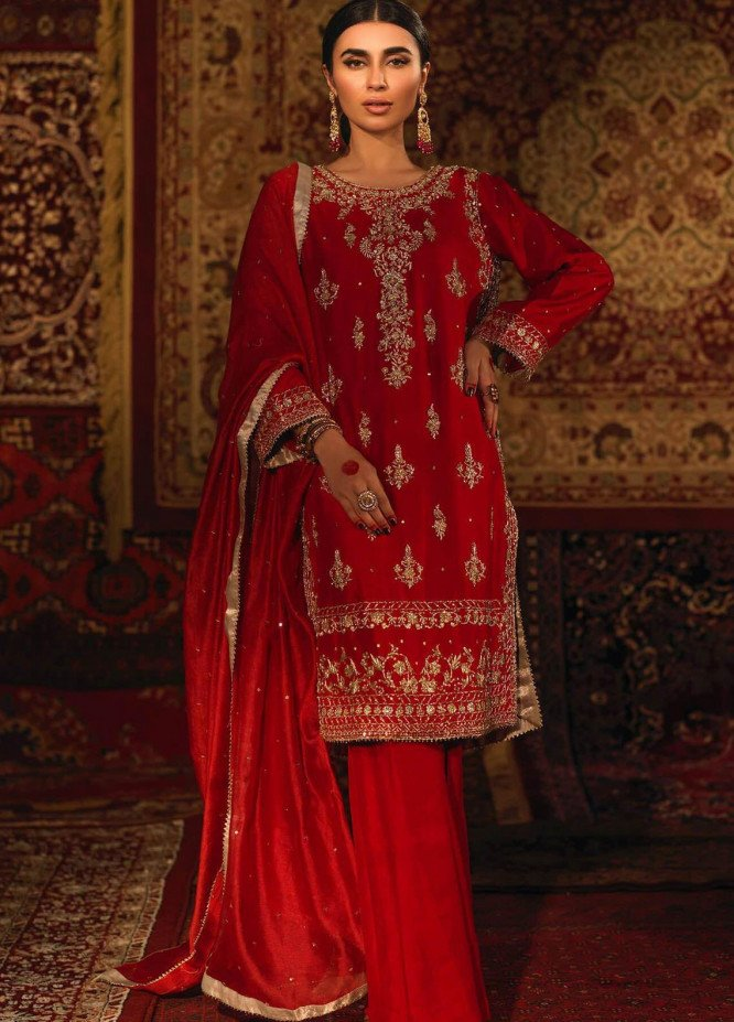 Zaaviay Embroidered Raw Silk Stitched 3 Piece Suit DASTAN