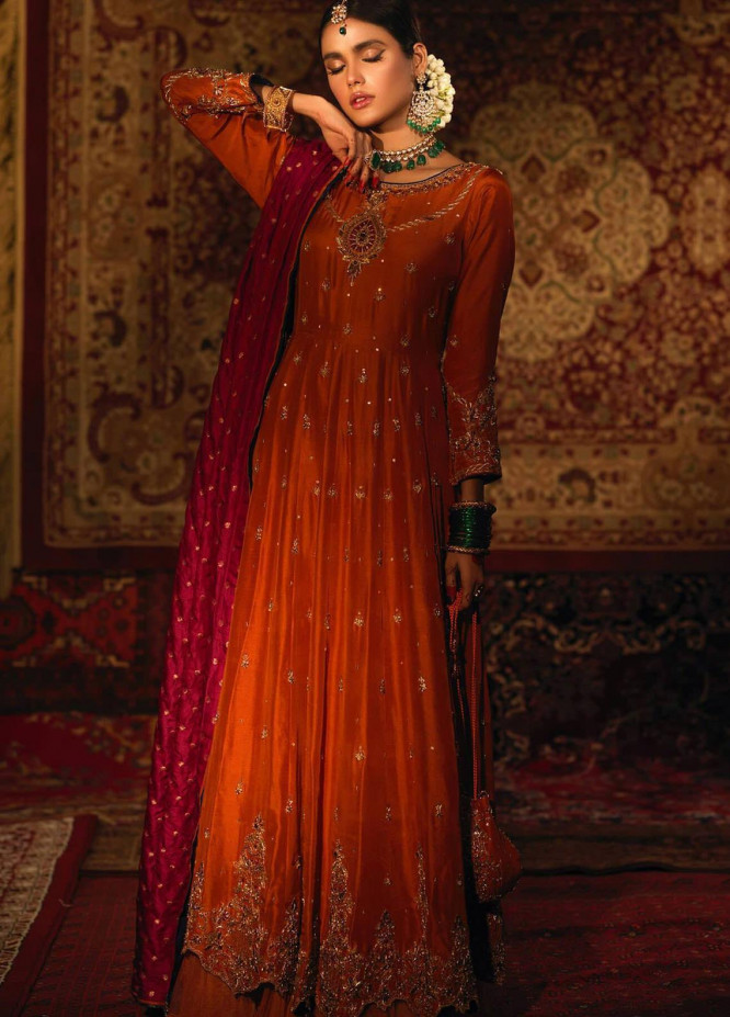 Zaaviay Embroidered Raw Silk Stitched 3 Piece Suit ITR