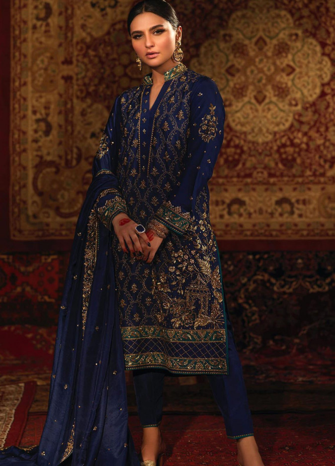Zaaviay Embroidered Raw Silk Stitched 3 Piece Suit ANGAN