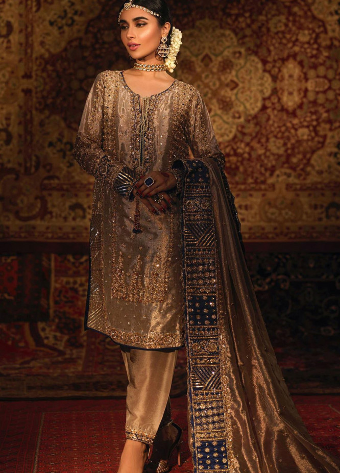 Zaaviay Embroidered Tissue Stitched 3 Piece Suit REEM