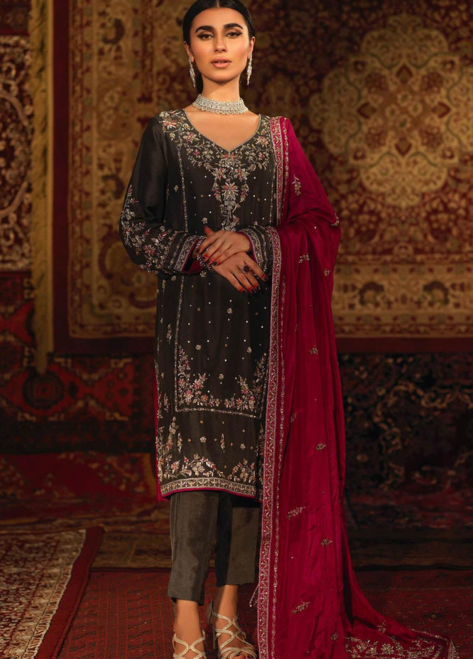 Zaaviay Embroidered Raw Silk Stitched 3 Piece Suit MAHJABEEN