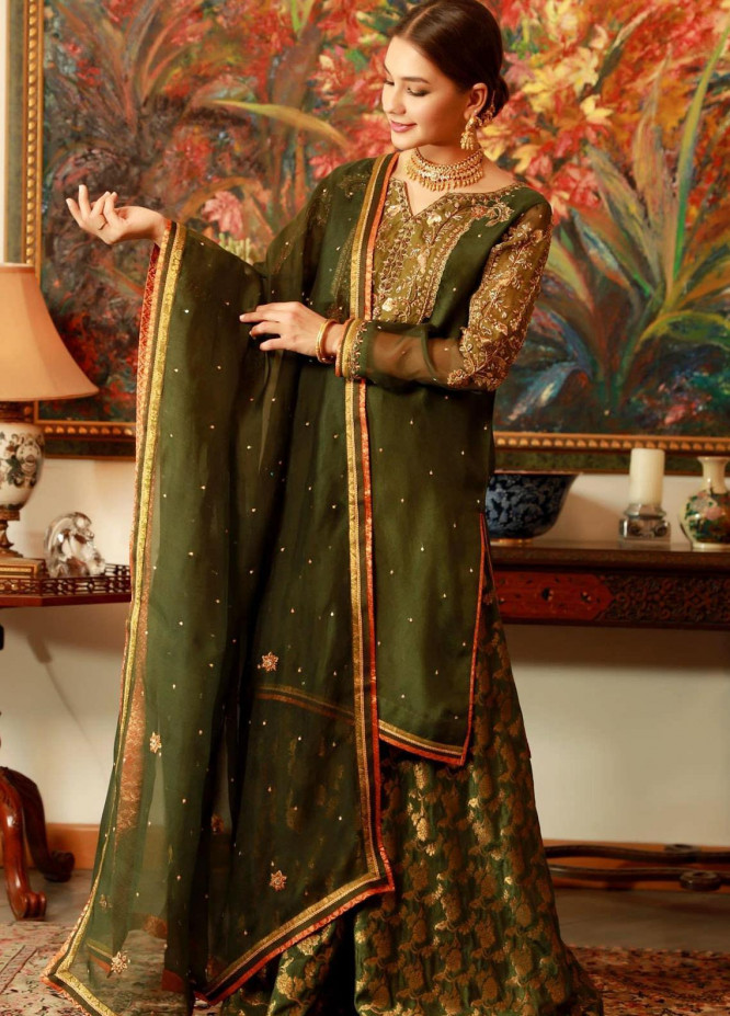 Zaaviay Embroidered Organza Stitched 3 Piece Suit HARYALI BANO