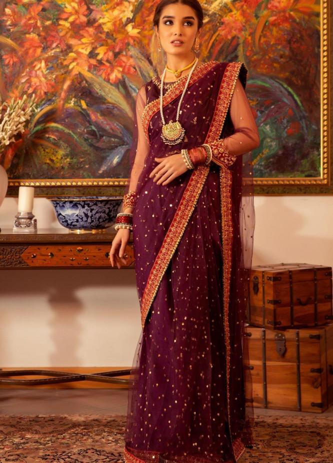 Zaaviay Embroidered Net Stitched Saree SHADMANI