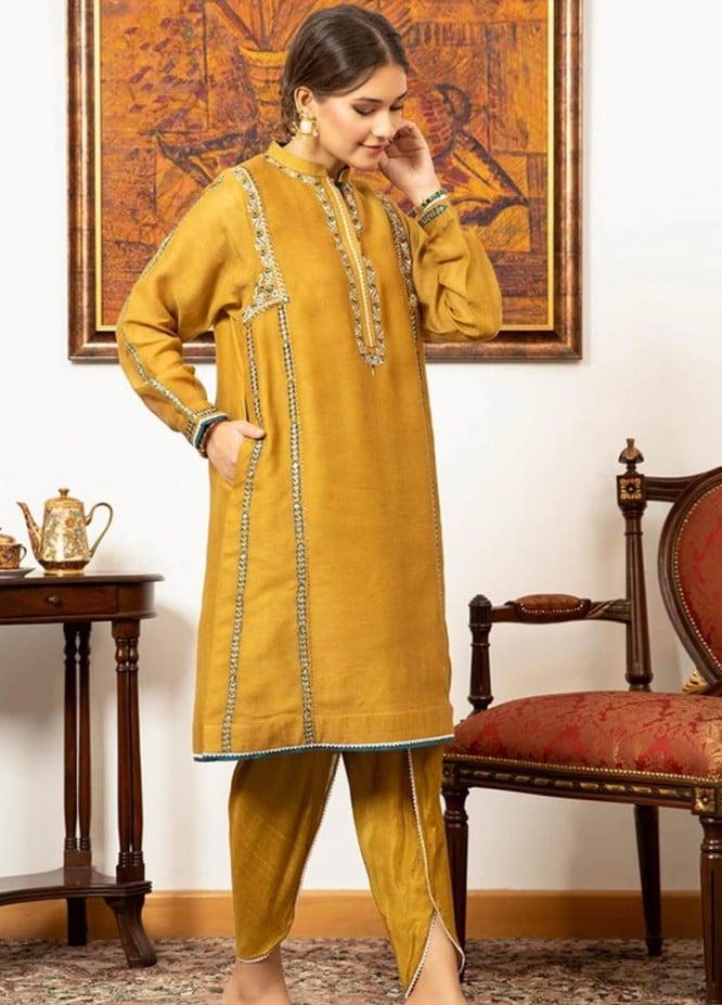Zaaviay Pret Luxury Khaadi Net 2 Piece ZV21LP ZPR-042 Marigold