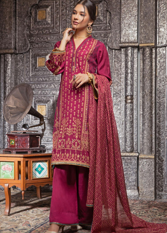 Zaaviay Embroidered Raw Silk Stitched 3 Piece Suit ZV21E 01-JUGNI