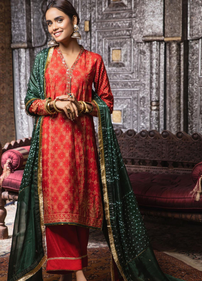 Zaaviay Embroidered Raw Silk Stitched 3 Piece Suit ZV21E 03-CHUNARIYA