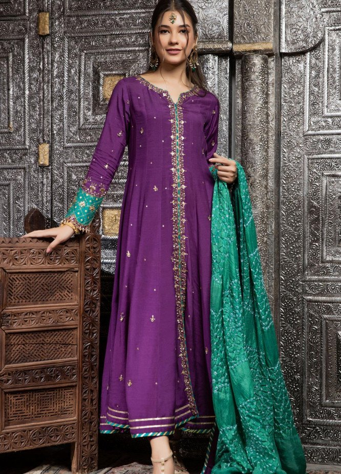 Zaaviay Embroidered Raw Silk Stitched 3 Piece Suit ZV21E 05-KHUSHBOO