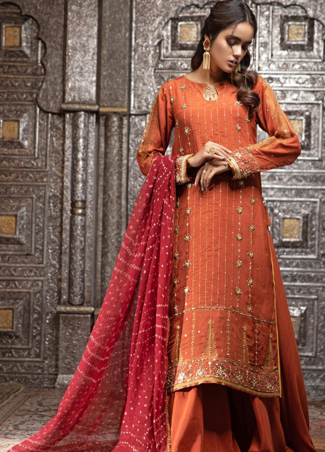 Zaaviay Embroidered Raw Silk Stitched 3 Piece Suit ZV21E 06-BANDHANI