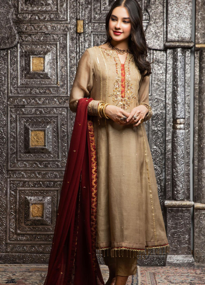 Zaaviay Embroidered Khaadi Net Stitched 3 Piece Suit ZV21E 07-JHOOM