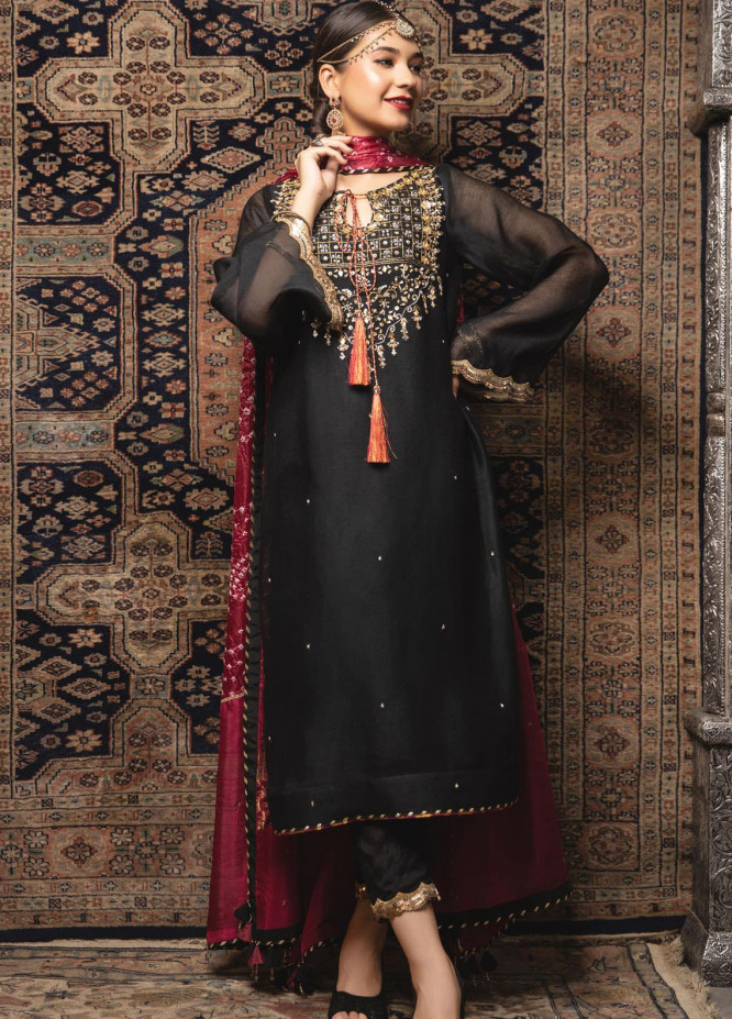 Zaaviay Embroidered Khaadi Net Stitched 3 Piece Suit ZV21E 08-JAGMAG