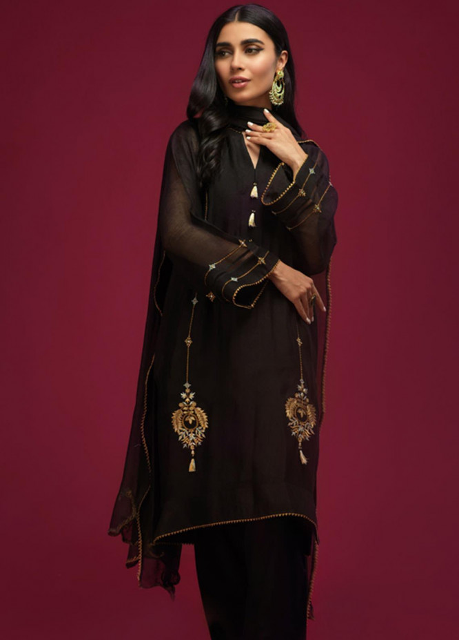Zaaviay Embroidered Khaadi Net Stitched 3 Piece Suit 008 CRESCENT