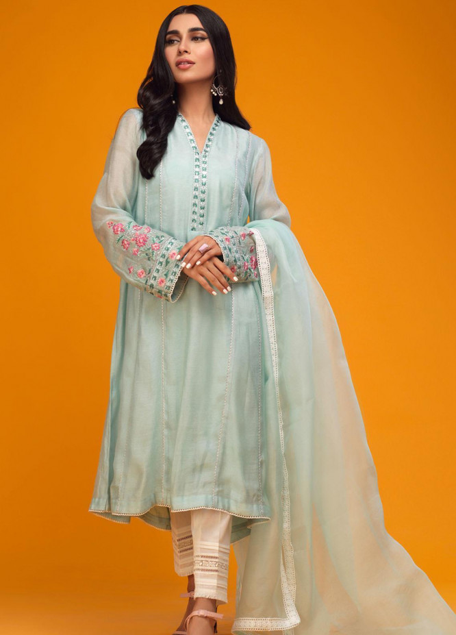 Zaaviay Embroidered Khaadi Net Stitched 3 Piece Suit 016 FROZEN LAKE