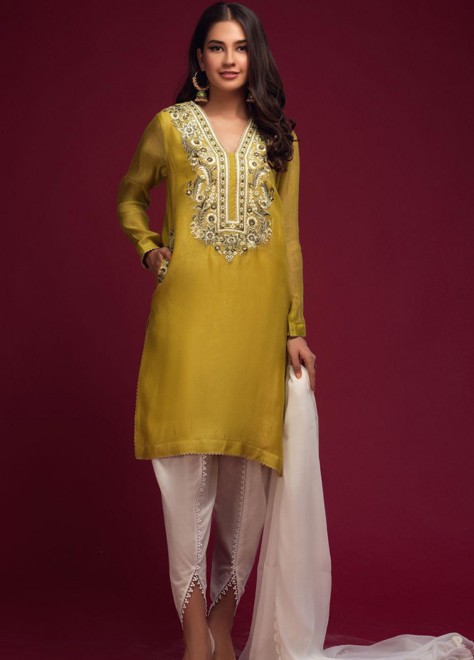 Zaaviay Embroidered Khaadi Net Stitched Kurtis 025 OLIVE BLOOM