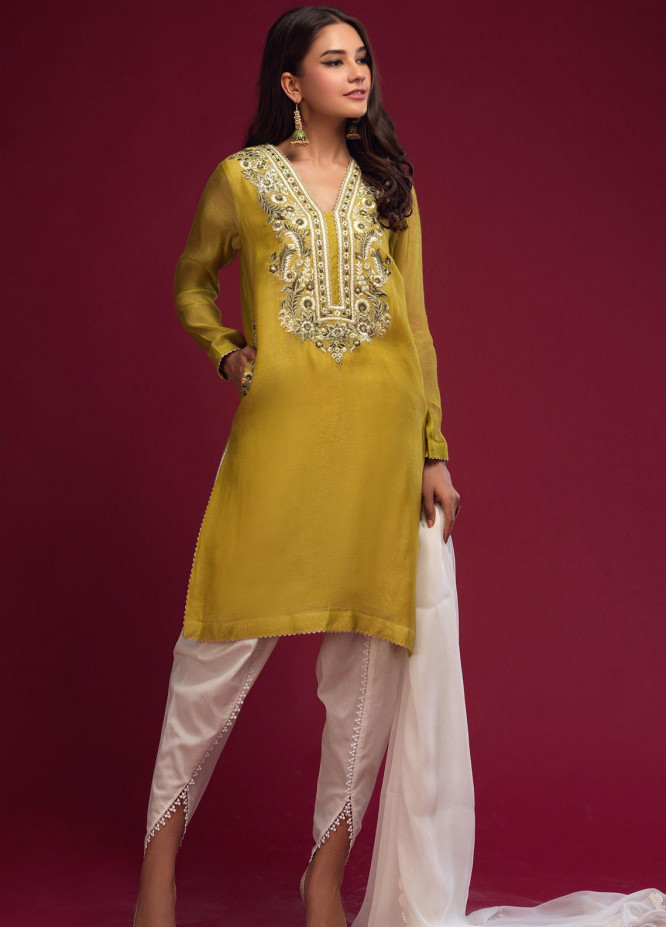 Zaaviay Embroidered Khaadi Net Stitched 3 Piece Suit 026 OLIVE BLOOM