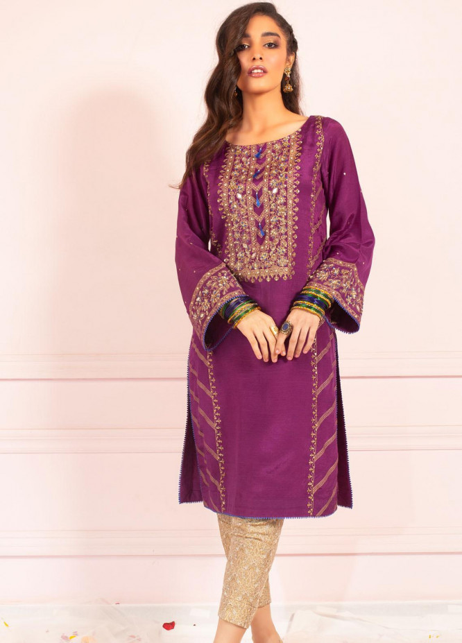 Zaaviay Embroidered Raw Silk Stitched Kurtis Z20SG 01 NIKHAR