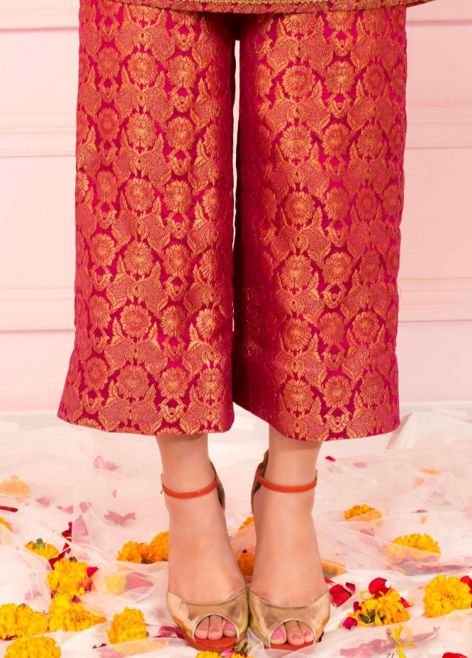 Zaaviay Fancy Banarsi Stitched Trousers ZSC-032 PINK BANARSI CULLOTES