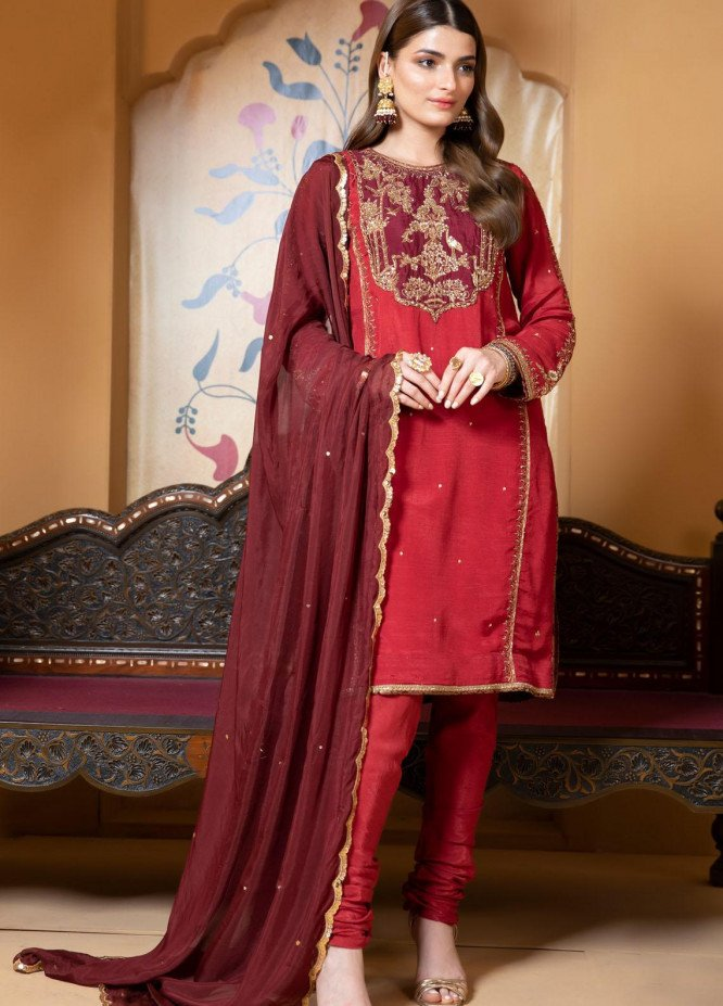 Zaaviay Luxury Pret Embroidered Raw Silk 3 Piece Dress HEERIYE
