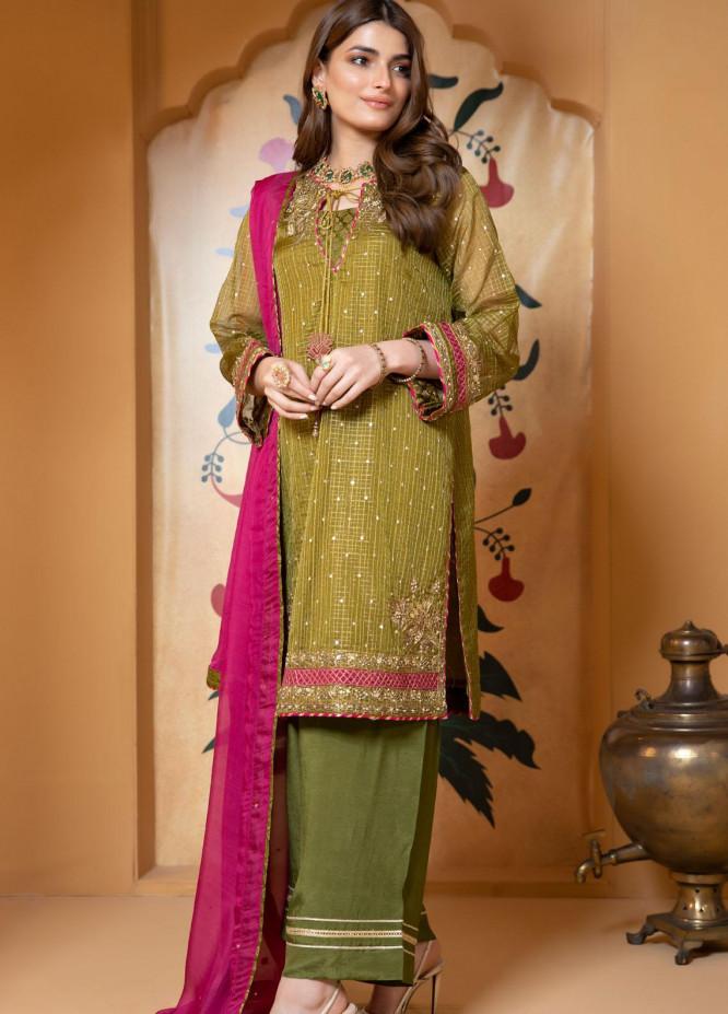 Zaaviay Luxury Pret Embroidered Organza 3 Piece Dress Kastoor