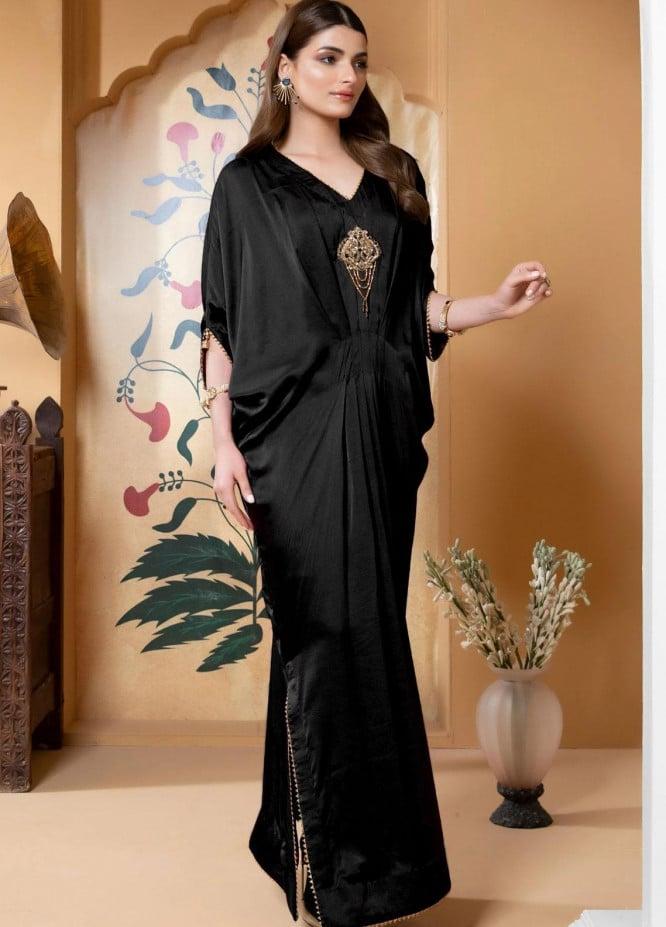 Zaaviay Luxury Pret Embroidered Silk Kaftan Maahi B