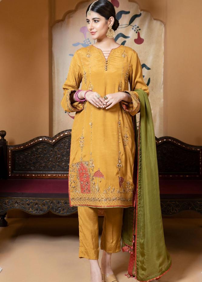 Zaaviay Luxury Pret Embroidered Raw Silk 3 Piece Dress Marvi