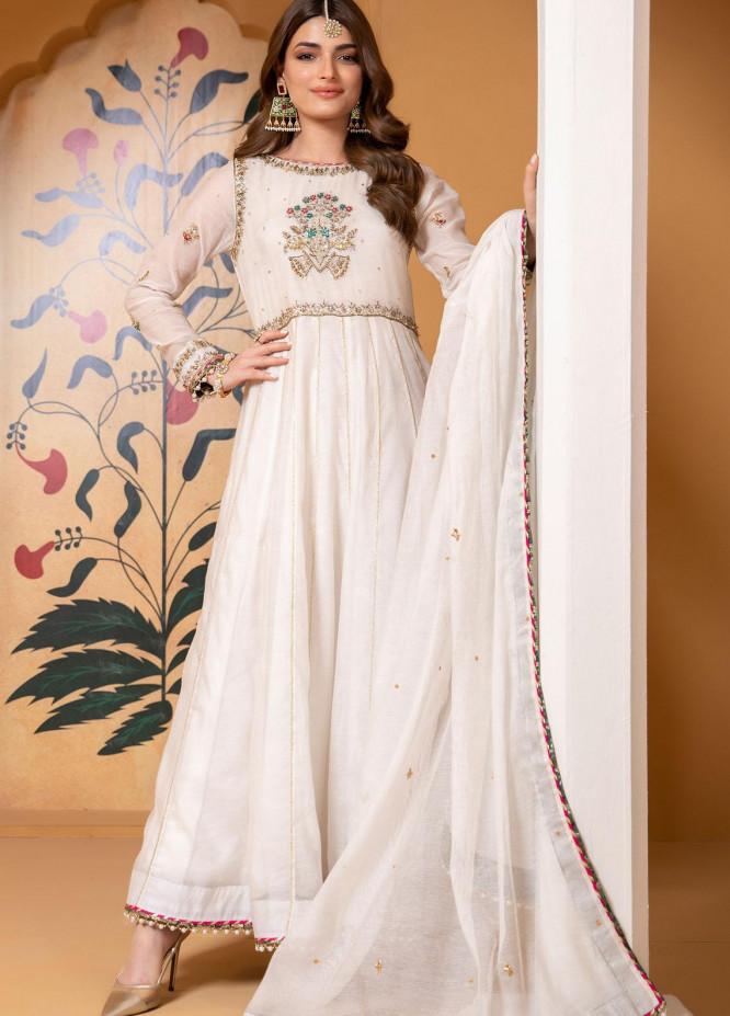 Zaaviay Luxury Pret Embroidered Khaadi Net 3 Piece Dress Pankh