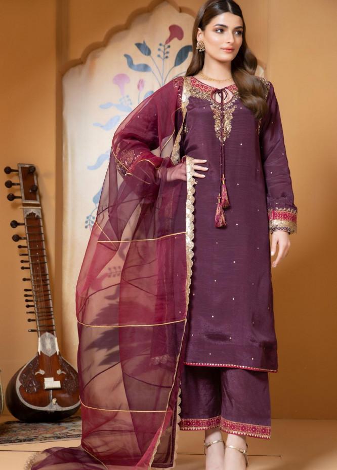 Zaaviay Luxury Pret Embroidered Raw Silk 3 Piece Dress Ranjhana