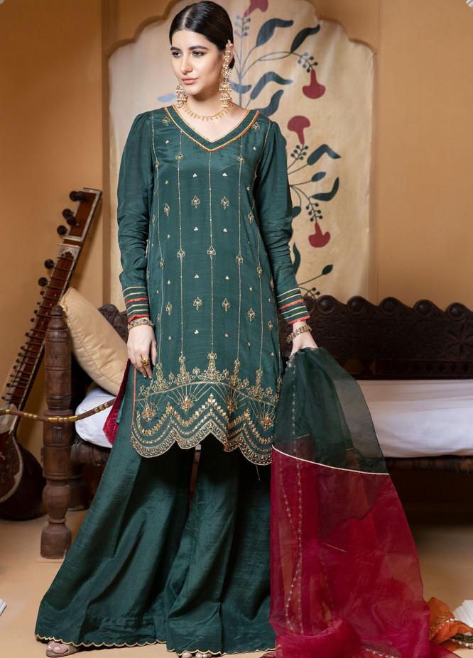 Zaaviay Luxury Pret Embroidered Raw Silk 3 Piece Dress RANO