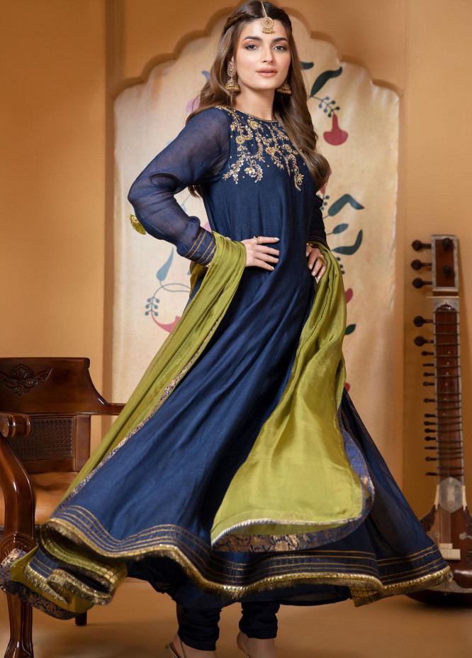 Zaaviay Luxury Pret Embroidered Khaadi Net 3 Piece Dress Roop