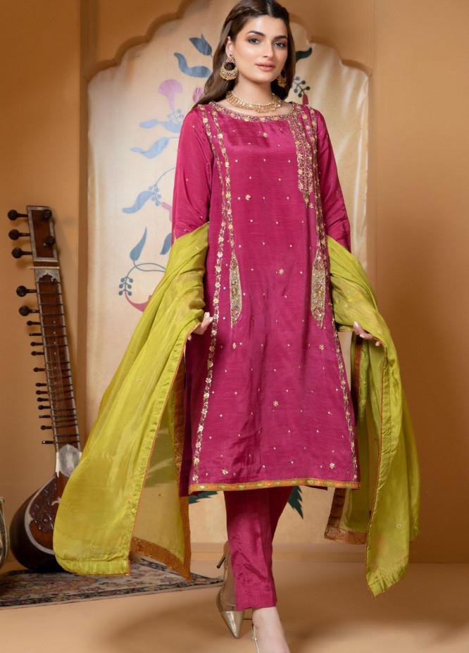 Zaaviay Luxury Pret Embroidered Raw Silk 3 Piece Dress SAHIBAN