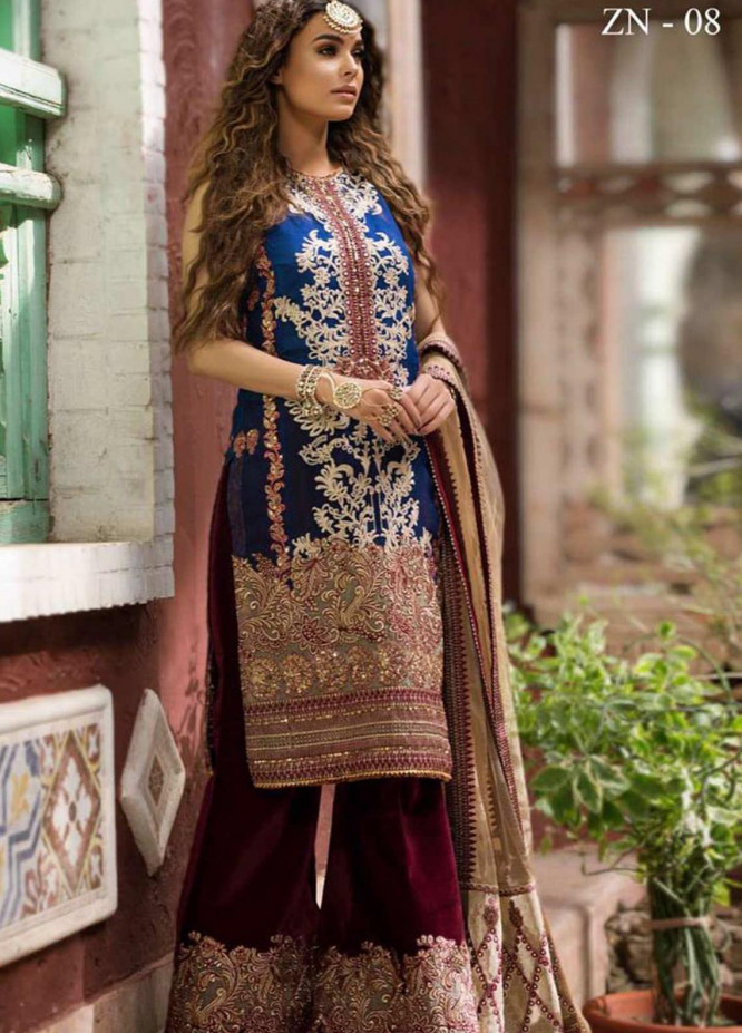 Zah-e-Naseeb by Asifa & Nabeel Embroidered Organza Unstitched 3 Piece Suit AN20ZN 08 HOOR - Festive Collection