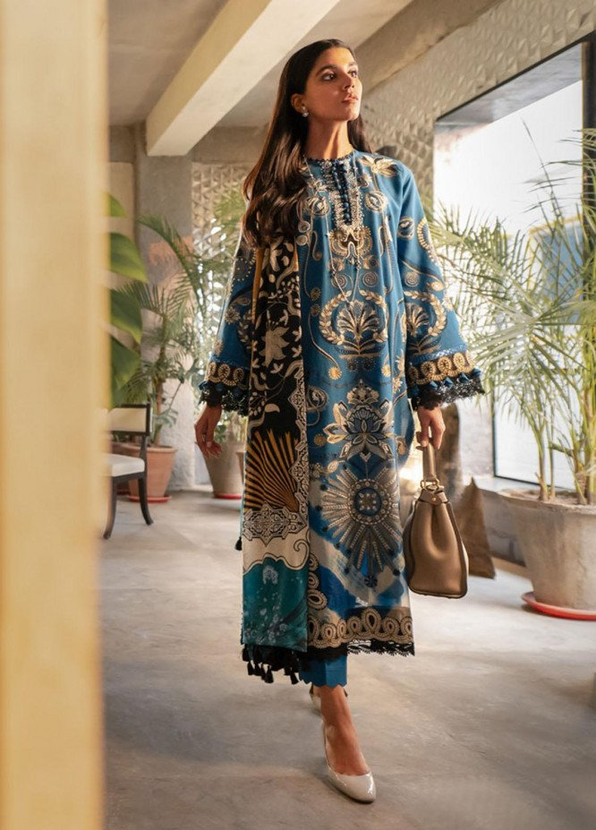 Modern Scapes by Zaha Embroidered Khaddar Unstitched 3 Piece Suit ZKS20W 14 URSHIA - Winter Collection