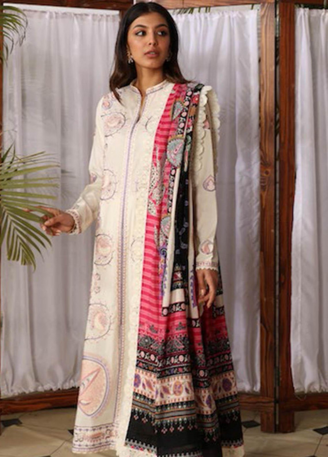 Zaha by Khadijah Shah Embroidered Lawn Suits Unstitched 3 Piece ZKS21L ZL21-01-A NEZM - Summer Collection