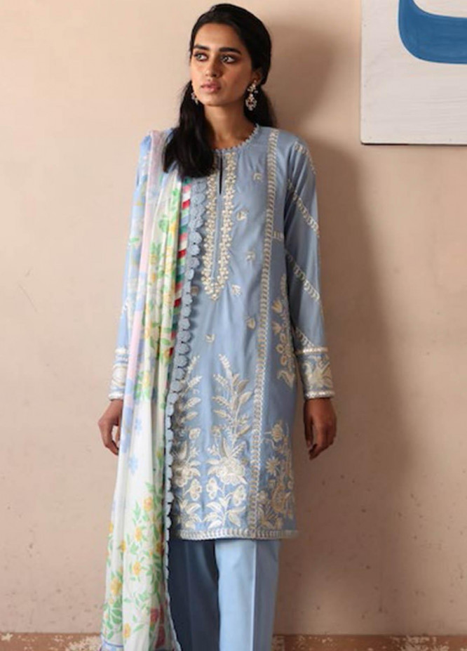 Zaha by Khadijah Shah Embroidered Lawn Suits Unstitched 3 Piece ZKS21L ZL21-07-A SOSAN - Summer Collection