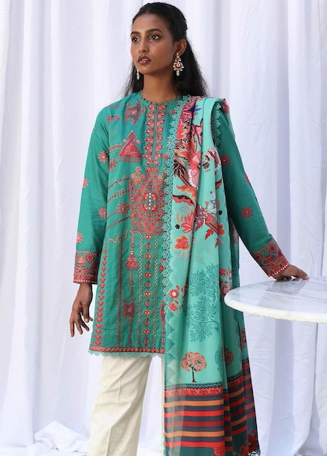 Zaha by Khadijah Shah Embroidered Lawn Suits Unstitched 3 Piece ZKS21L ZL21-10-B NAHID - Summer Collection